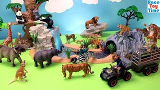 Schleich Wildlife Animal Trailer Playset with other Fun Toy Animals For Kids