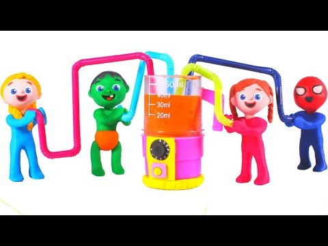 SUPERHERO BABIES MAKE HEALTHY SMOOTHIES  鉂� SUPERHERO PLAY DOH CARTOONS FOR KIDS