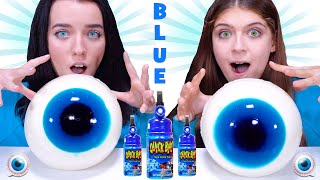 Blue Food Challenge By LiLiBu (Candy Race, Giant Gummy Eyeballs)