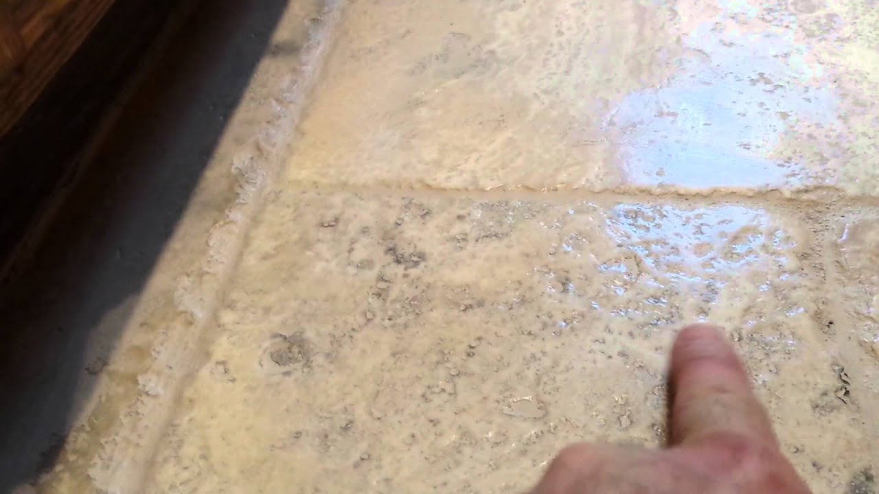 Color Sealing Tumbled Travertine Floor Youtube