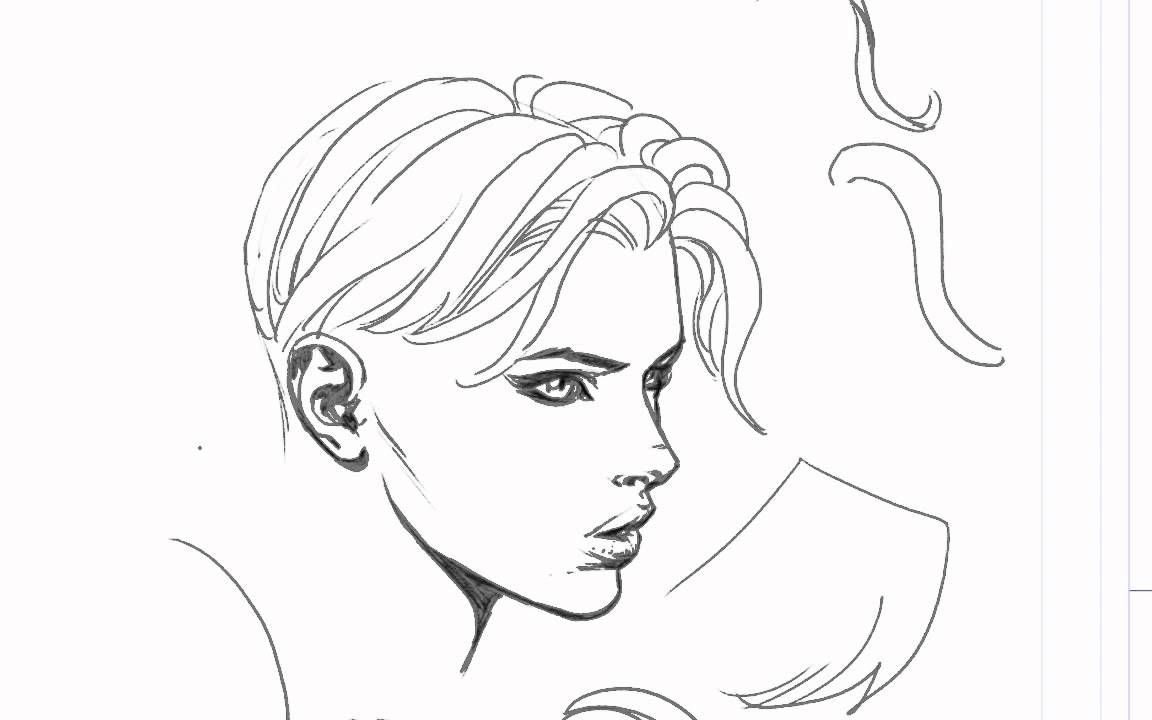 Line Art Design Tutorial : David finch hair drawing tutorial youtube