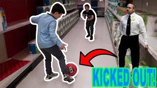 PLAYING KICKBALL IN WALMART! (KICKED OUT)