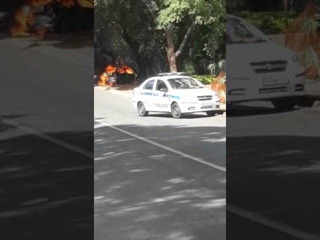 Car caught in fiery blaze