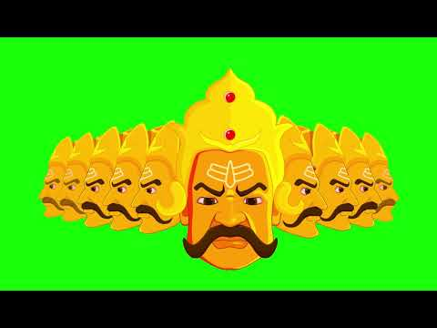 Ravana Cartoon Face Animated | Green Screen Video | Dussehra Special