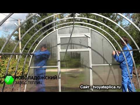 Сборка теплицы из поликарбоната своими руками видео