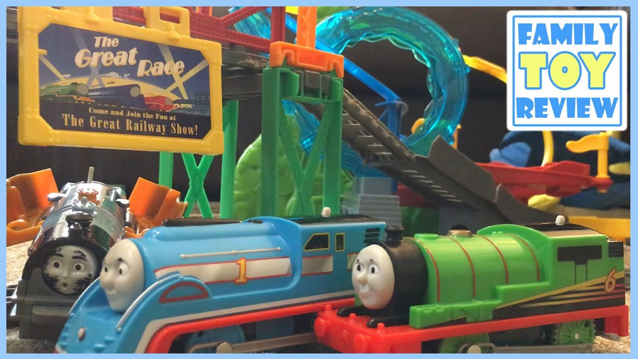 Thomas and Friends Giant Surprise Thomas The Great Race Over-Under Tidmouth Bridge FamilyToyReview