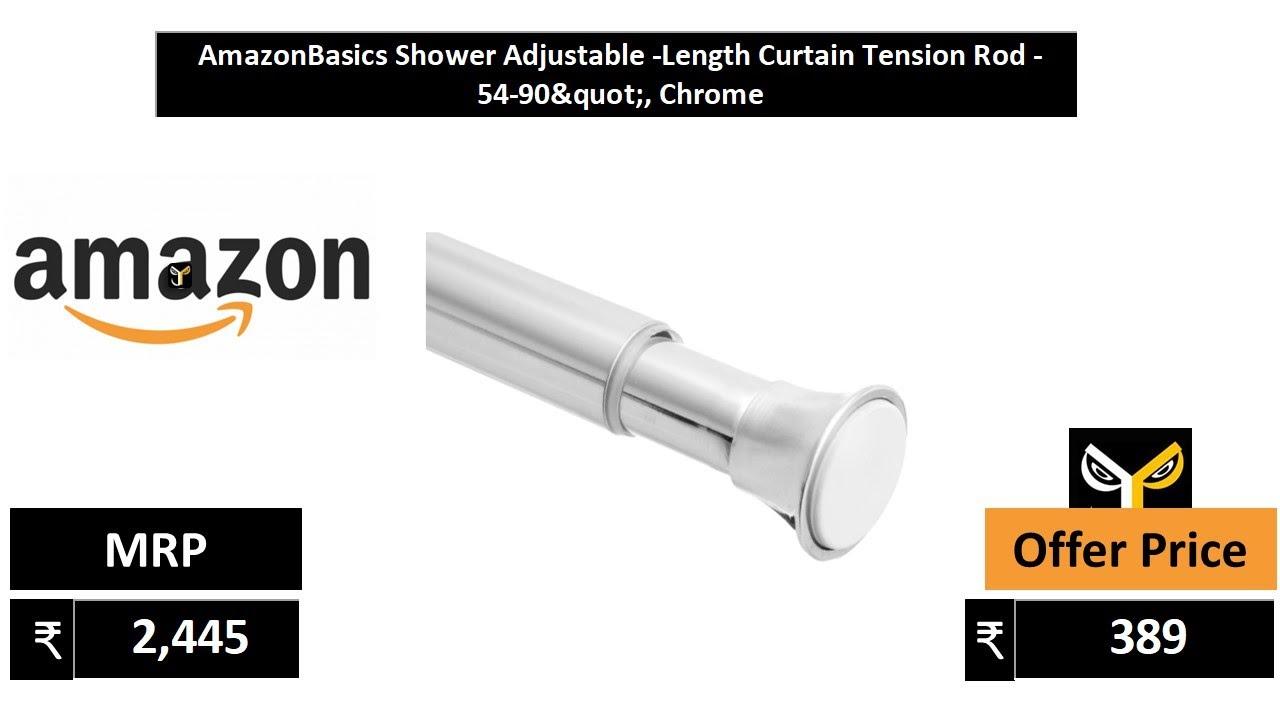 "AmazonBasics Shower Adjustable  Length Curtain Tension Rod   54 90"", Chrome"