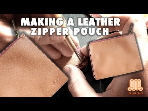 Making a leather zipper pouch / leather craft tutorial