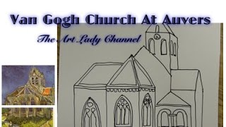 Draw Vincent Van Gogh's Church in Auvers-sur-Oise Easy for kids!
