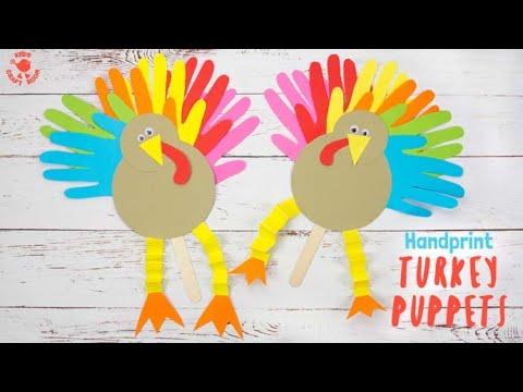 Handprint Turkey Puppets