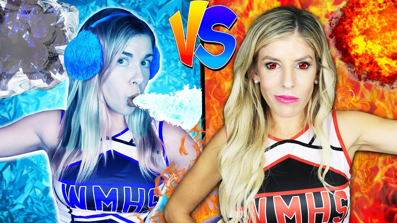 Download Hot vs Cold Challenge! Cheerleader Girl on Fire vs Icy girl to Trick Daniel who is Among Us!
