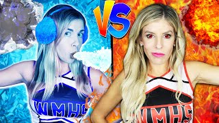 Hot vs Cold Challenge! Cheerleader Girl on Fire vs Icy girl to Trick Daniel who is Among Us!