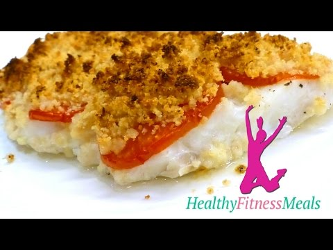 Healthy Fitness Meal: Crunchy Topped Cod Recipe. Low Fat Low Cholesterol Only 140 Kcals Portion
