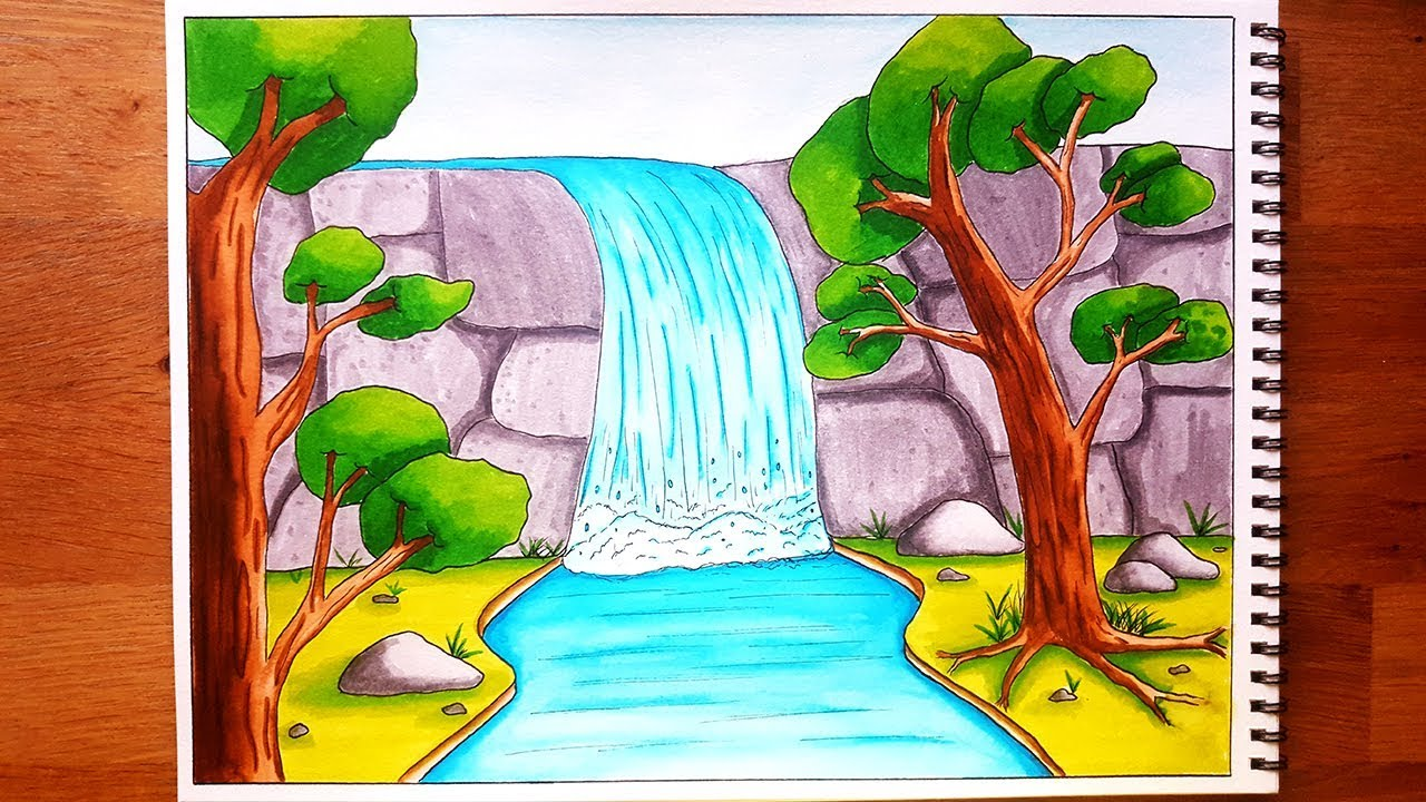 How to draw a waterfall stream scenery for beginners step by step