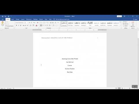 How to format a Word doc for writing an APA style college paper (3 of 3)