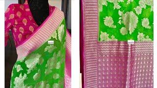 #85 Pure banarasi Georgette saree Rich pallu. Goldish heavy zari Floral design.Rich pallu