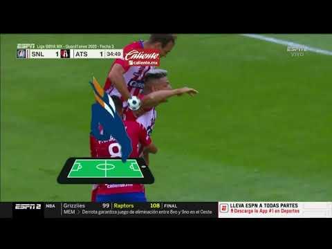 Gol de M. Quiroga   San Luis 1-1 Atlas   Liga BBVA MX - Guard1anes 2020 - Jornada 3