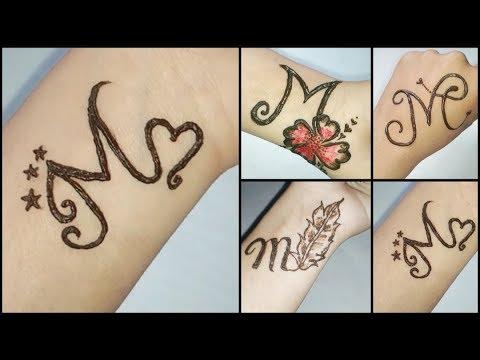 M Letter Tattoo Mehndi Design For Hand