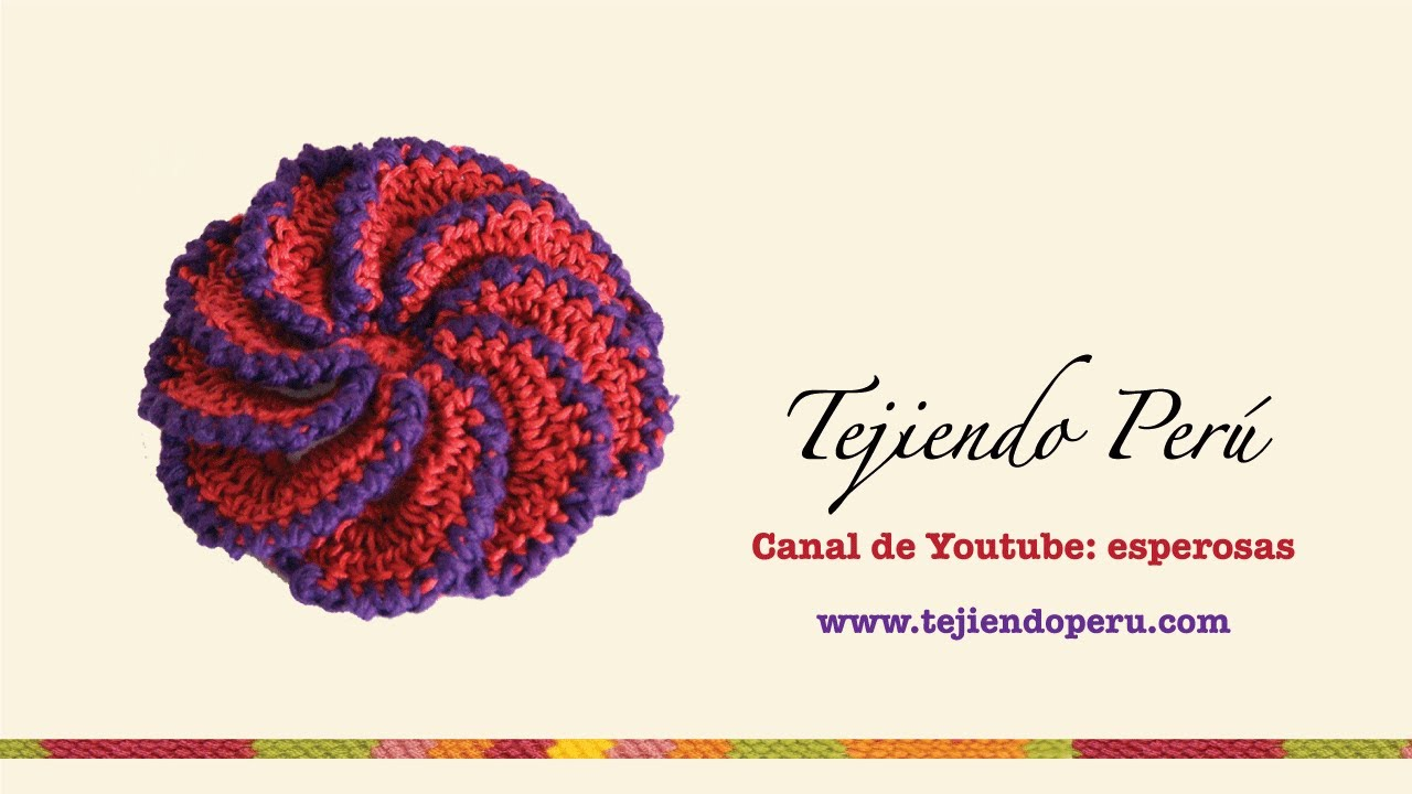Flor espiral tejida a crochet - YouTube