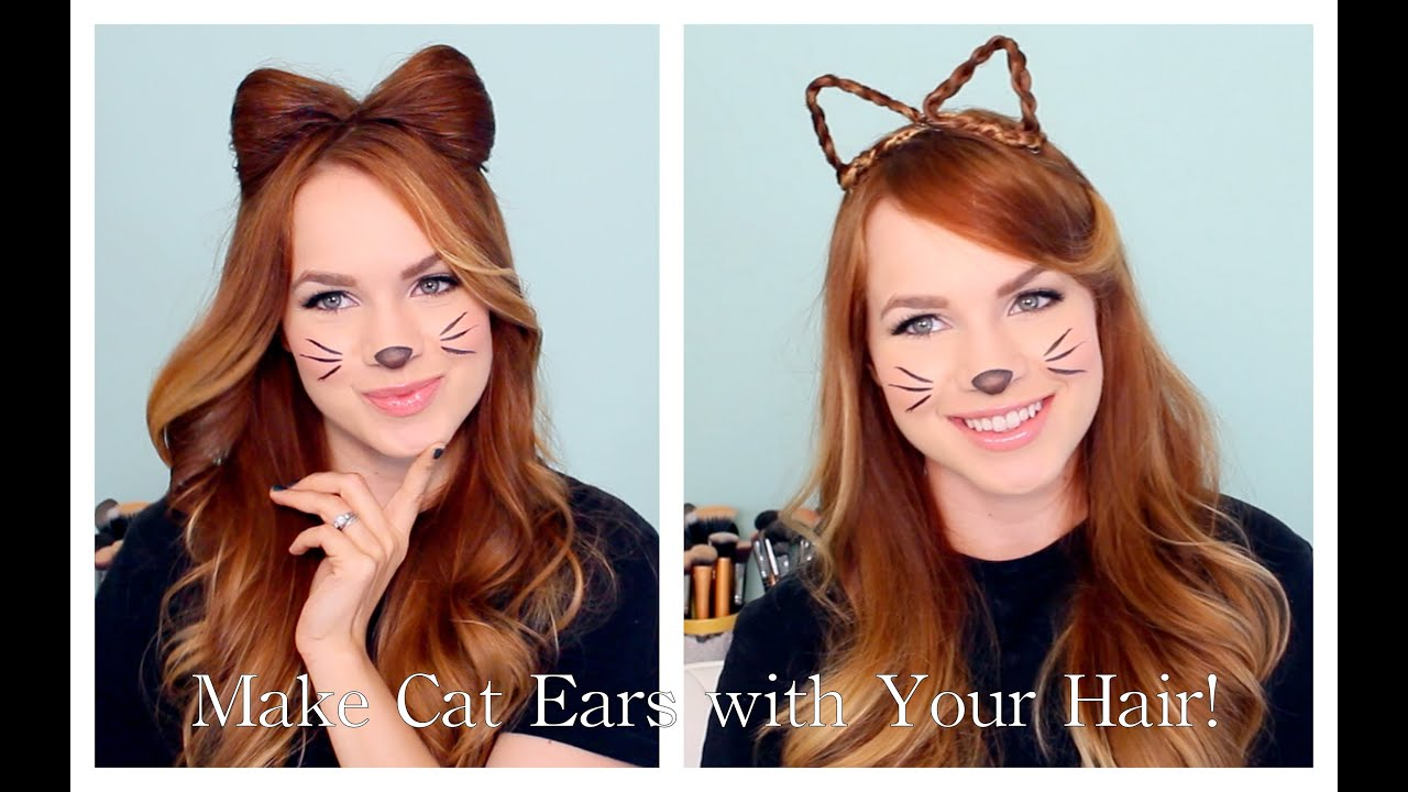 2 Ways To Make Cat Ears With Your Hair Youtube