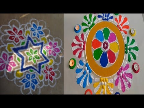 Rangoli Designs With Dots 15x8 With Colores Letest Video New Year, Sankranthi, Pongal Rangoli Making