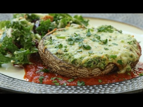 How To Make Cheese & Spinach Stuffed Portobellos