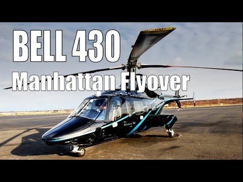 Heliflite Bell 430 Cockpit POV, Manhattan Island flyover (Raw Video)