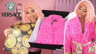 Versace baroque bathrobe   unboxing .hey loves in today's video we are going to be my new robe pink.watch how this transform...