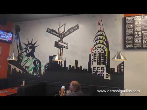 Aerosol Gorillas paints Pizzeria