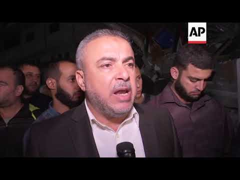 Hamas Supporters Celebrate In Front Of Destroyed Al Aqsa Tv Building In Gaza Youtube