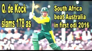 De Kock's 178 gives SA win over Aus in 1st ODI