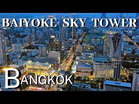 Visiting Baiyoke Sky Tower Tallest Building in Thailand, Spectacular View of Bangkok at Night in 4K