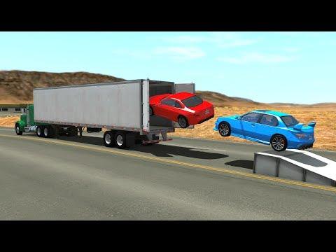 Open Truck Cargo Doors Car Speeding Jumps&Crashes - BeamNG DRIVE