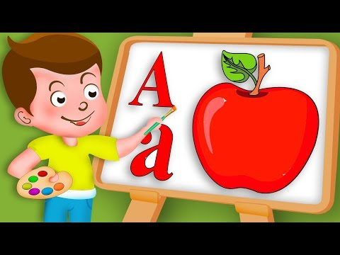 Drawing Alphabet A Letter with fruit Apple Drawing Paint And Colouring For Kids #kidsdrawingtv
