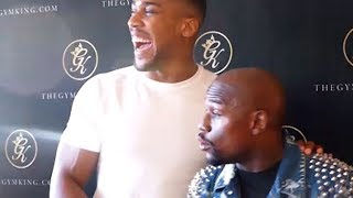 FLOYD MAYWEATHER JOKES WITH ANTHONY JOSHUA ABOUT BROOK VS. SPENCE: