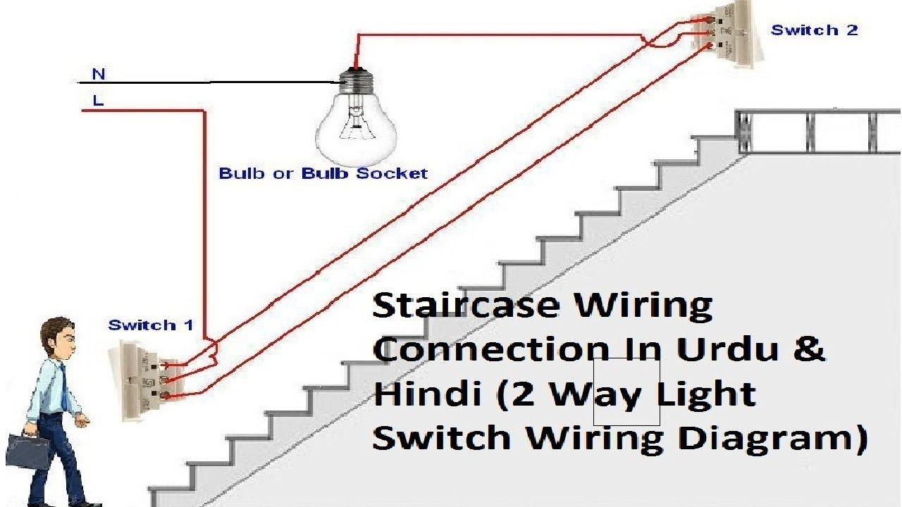 how to make a circuit of two way switch at home staircase. Black Bedroom Furniture Sets. Home Design Ideas