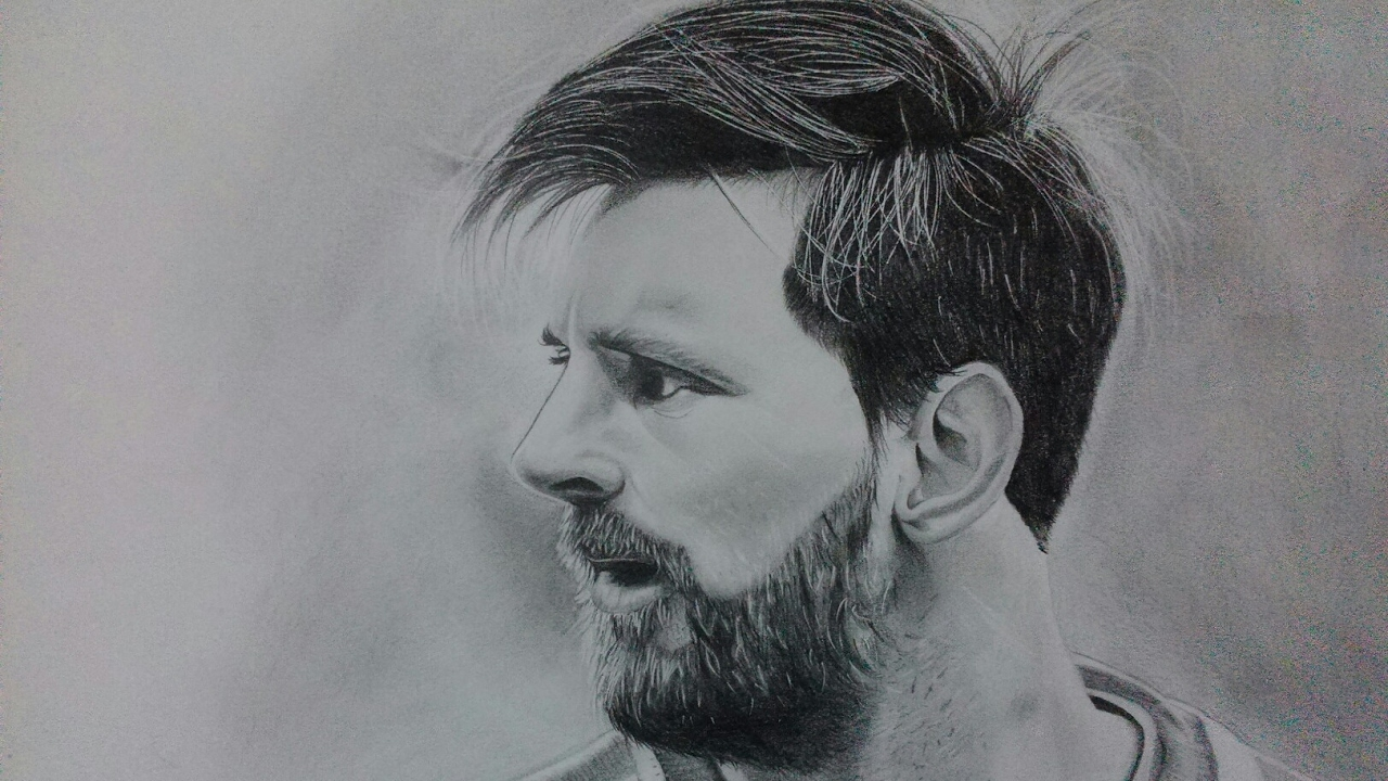 Lionel messis pencil sketch