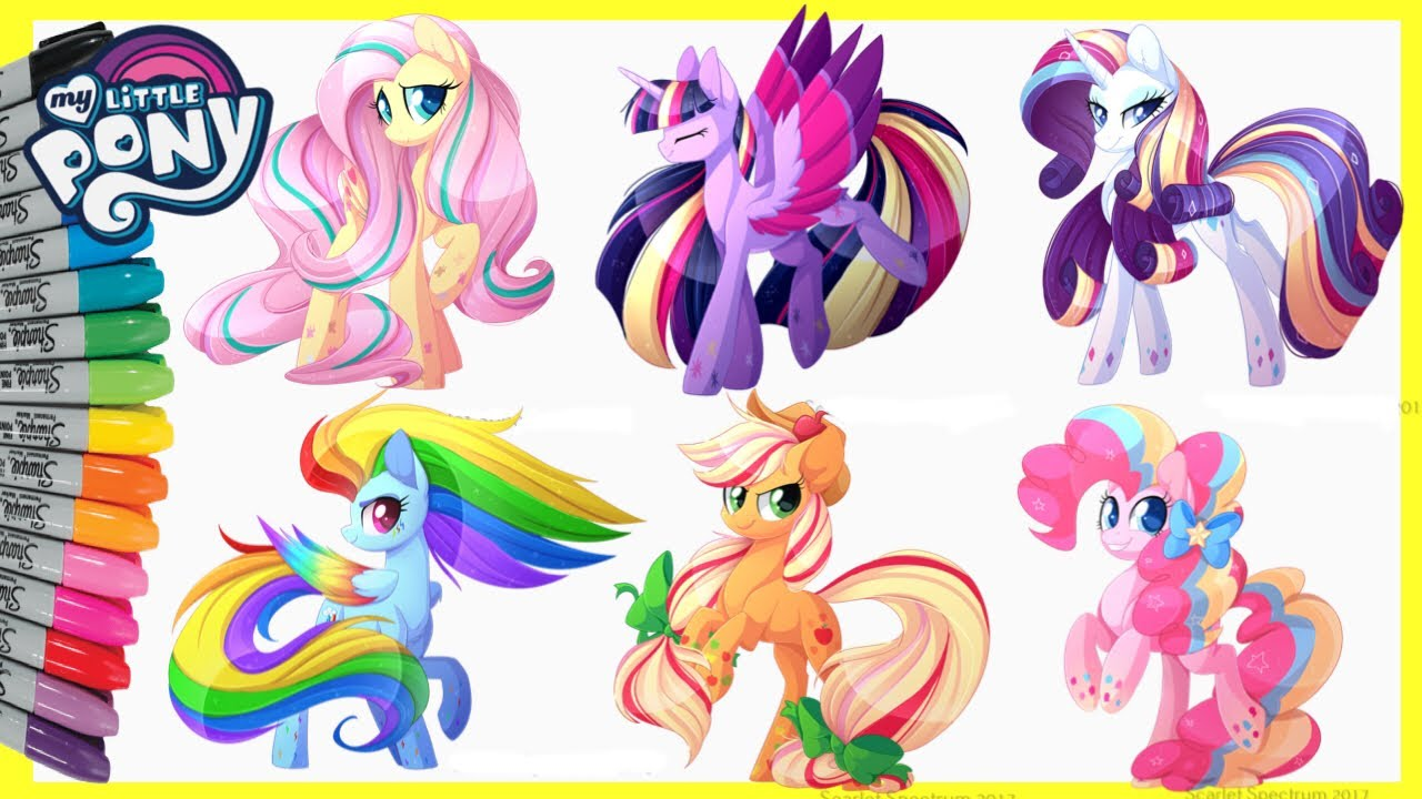 My Little Pony Coloring Pages MLP Twiligth Sparkle Pinkie Pie Rainbow Dash Fluttershy Applejack