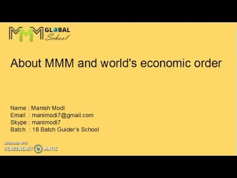 About MMM and world's economic order