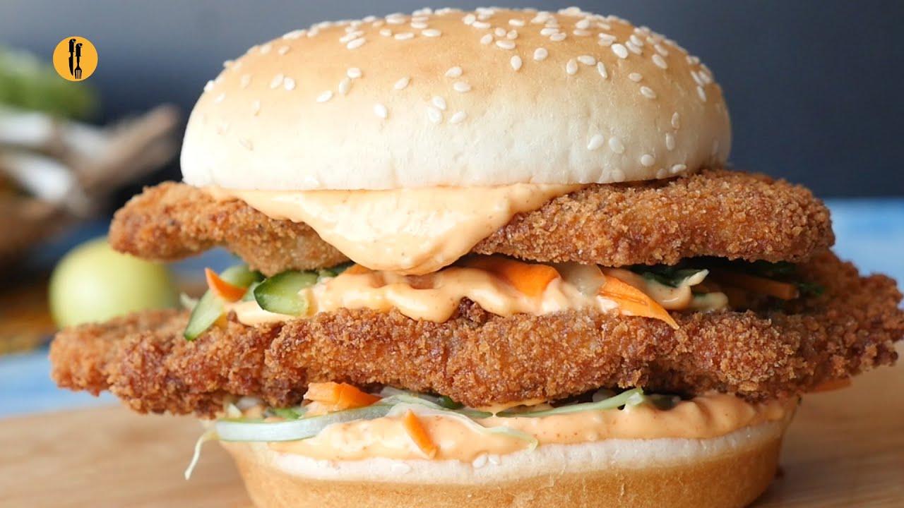 Katsu Fried Chicken Burger Recipe By Food Fusion
