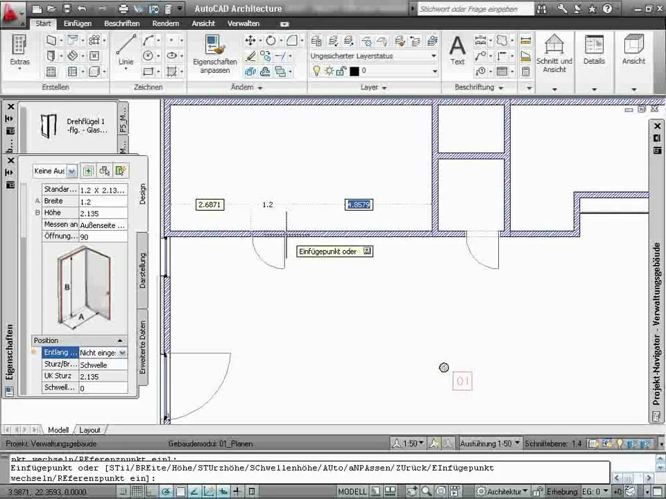 AutoCAD Architecture - Tutorial 02/15 - Öffnungen - YouTube