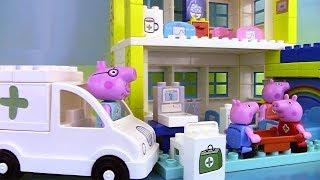 Peppa Pig Blocks Hospital Building Set ♥ Jeu de construction de l'hôpital(Dans cette vidéo, nous allons jouer avec le jeu de construction de l'hôpital de Peppa Pig (en anglais