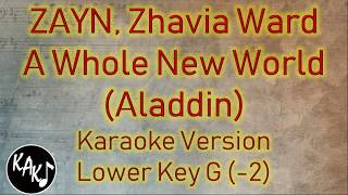 ZAYN, Zhavia Ward - A Whole New World Karaoke Lyrics Instrumental Cover Lower Key G