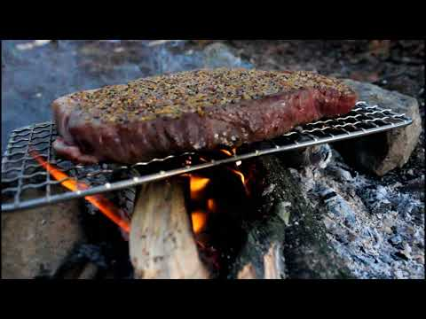 Bushcraft Skills, Bow Drill Fire, And Campfire Cooked Steak!