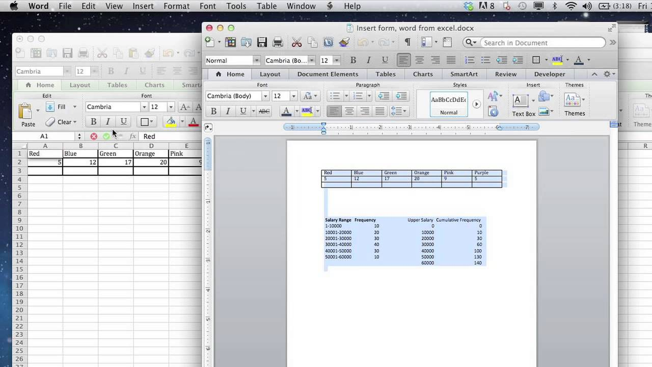 How To Import A Word Form Into An Excel Worksheet Format
