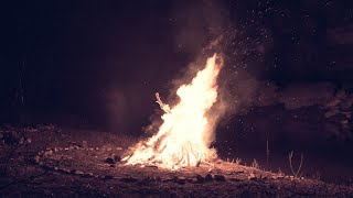 10 Hours Ambient Stream with Camping Fire Roar and Crickets - Nature Sounds for Sleeping-Relaxing