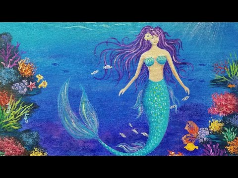 MERMAID Acrylic Painting Tutorial (Coral Reef Part 2) LIVE Angelooney Event