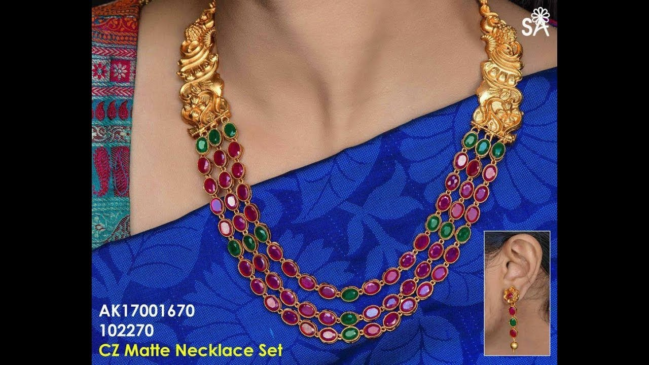 Latest Short Ruby Gold Necklace Designs - YouTube