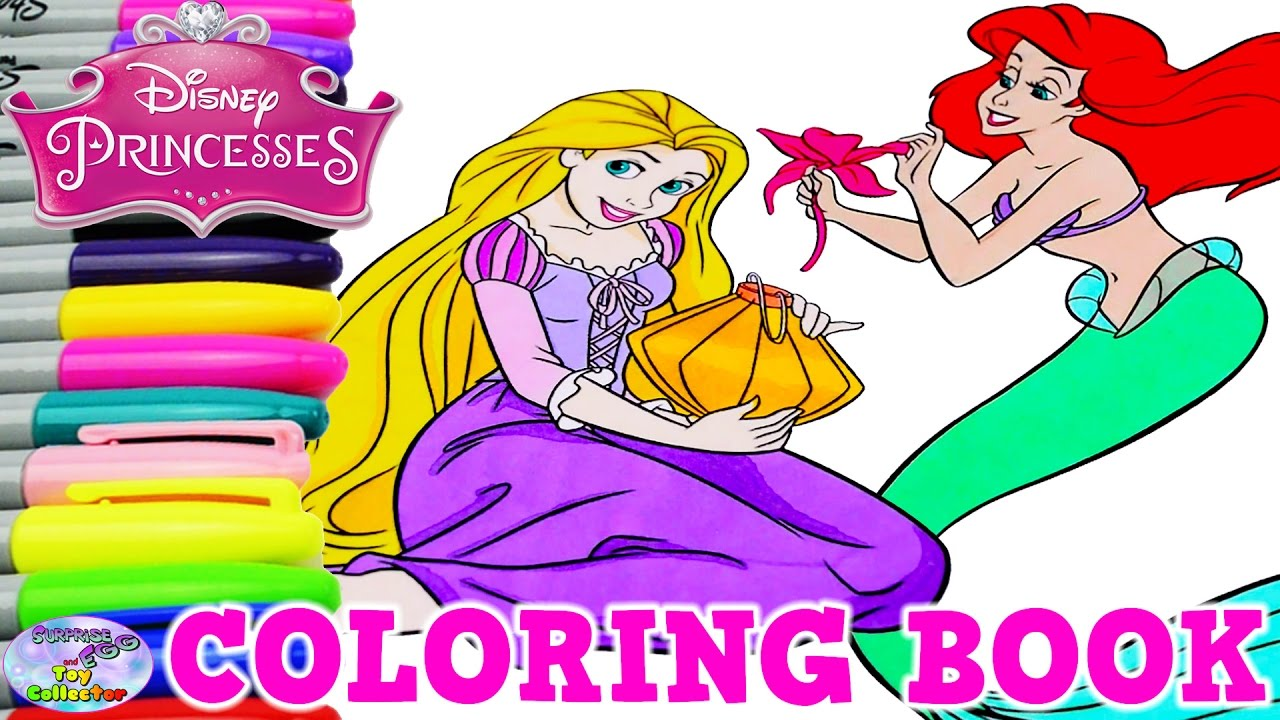 Disney Princess Coloring Book Rapunzel Belle Tinkerbell Ariel Surprise Egg  and Toy Collector SETC