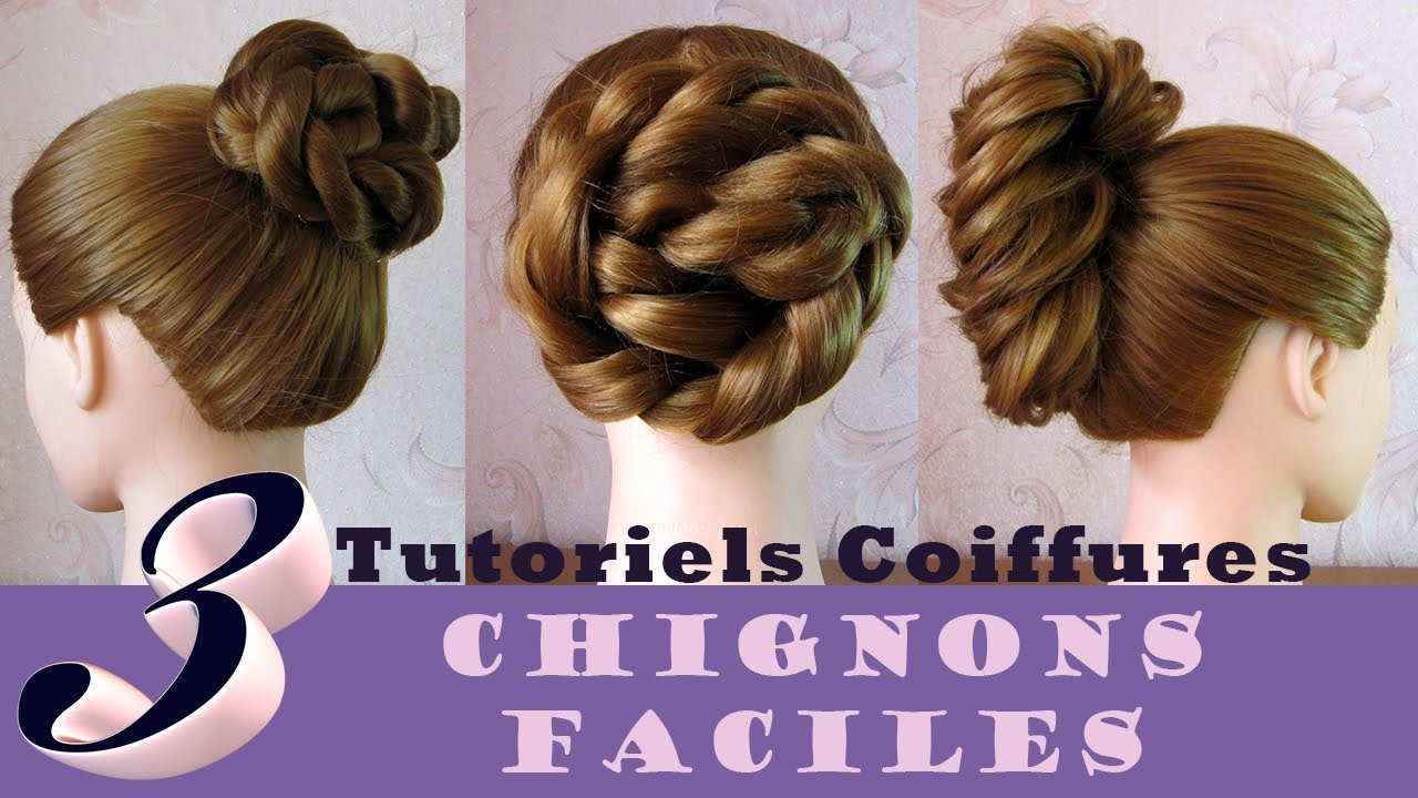 tutoriels coiffures chignon tress facile 3 idees coiffure simple cheveux mi long long. Black Bedroom Furniture Sets. Home Design Ideas